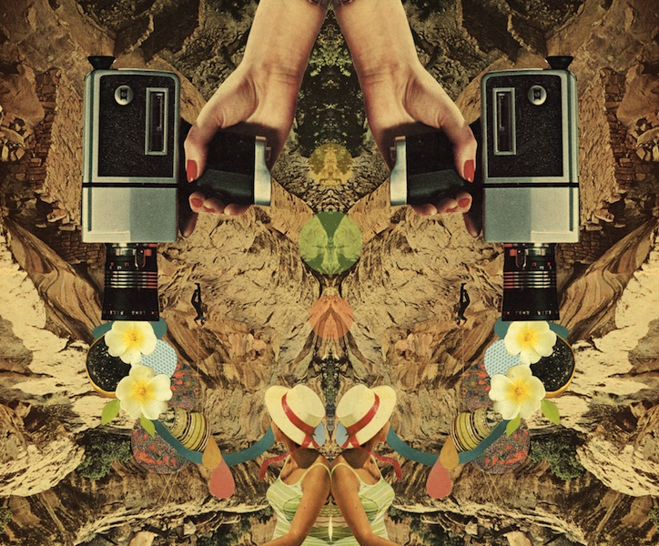 mirrored collage of a woman and hands holding vintage film recorder