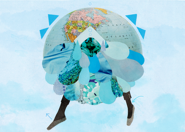 image on amelias magazine post about colour, a collage with image of a planet with legs