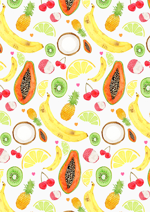 Fruit Salad pattern by Laura Redburn - Illustrations of various fruits such as bananas, pineapples, mango and coconut