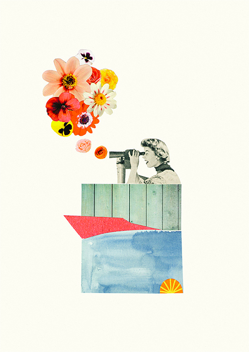 In Bloom collage by Laura Redburn - Illustration of a woman looking through a telescope and seeing a bouquet of flowers