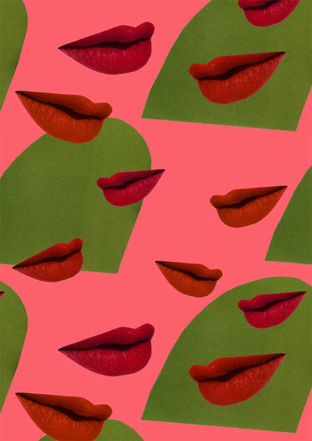 Getting lippy collage pattern by Laura Redburn